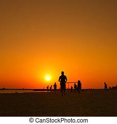praia, pôr do sol, futebol, amador, durante