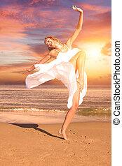 praia, pôr do sol, mulher