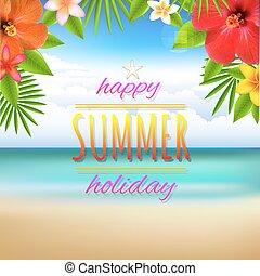 praia, paisagem, cartão