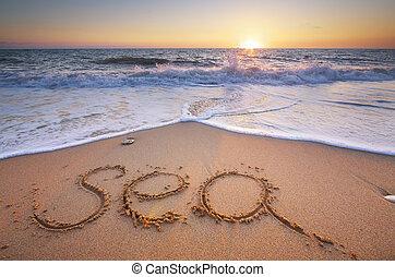 praia., palavra, mar
