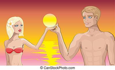 praia, par, amor
