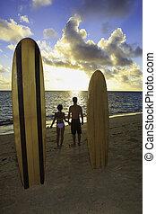 praia, par, seu, surfboards