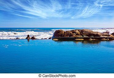 praia, pedras, costa, atlântico