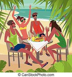 praia, pequeno almoço, amigos, comer, tabela