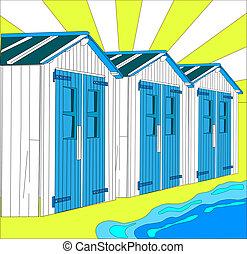 praia, pequeno, países baixos, ilustração, casas, holandês