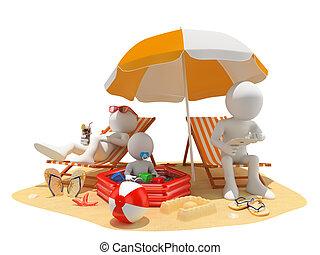praia, pessoas., família, 3d, branca