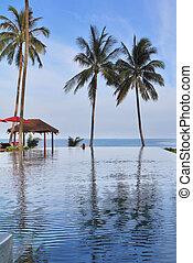 praia, piscina, pavilhões