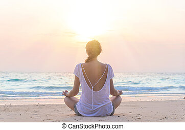 praia, prática, mulher, ioga, amanhecer