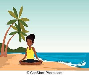 praia, pretas, prática, mulher, ioga