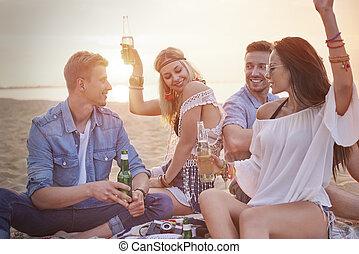 praia, quatro, divertimento, partido, amigos, tendo