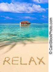 praia, relaxe, palavra
