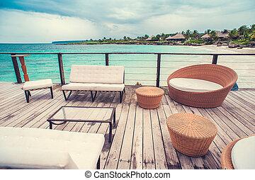praia, remoto, dominicano, céu, restaurante, relaxe, oceânicos, tropicais, litoral, Ao ar livre, república, tabela, paraisos,  café, Caraíbas, armando