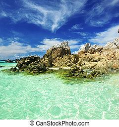 praia, rochoso