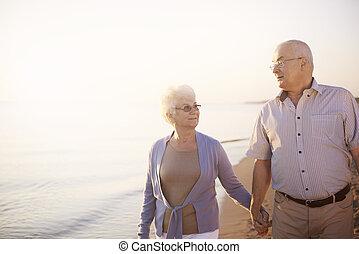 praia, romanticos, passeio