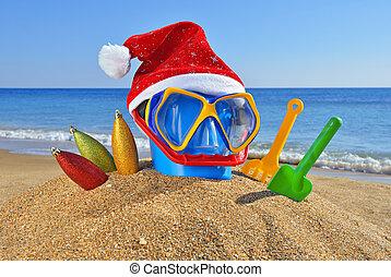 praia, santa, brinquedos, decorações, chapéu, natal