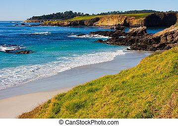 praia, seixo, califórnia