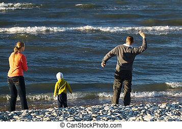 praia seixo, três, família