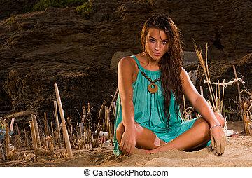 praia, sentando, mulher