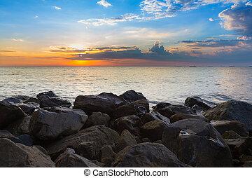 praia, sobre, natural, mar, rocha