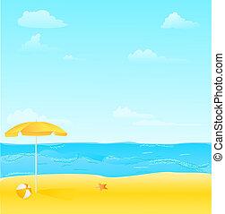 praia, starfish, bola, ilustração, guarda-chuva
