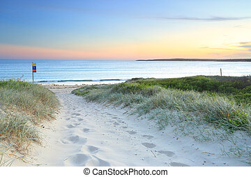 praia, sundown, caminho, anoitecer, greenhills, arenoso