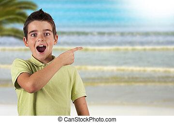 praia, surpresa, viagem, feriados, notando, criança, estusiasmo