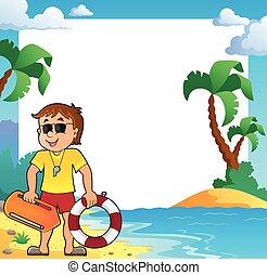 praia, tema, quadro, com, guarda vida