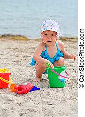 praia, tocando, criança