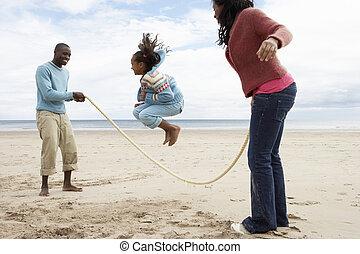 praia, tocando, família
