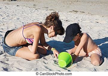 praia, tocando