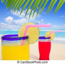praia, tropicais, coquetéis, árvore palma, leafl, turquesa, praia