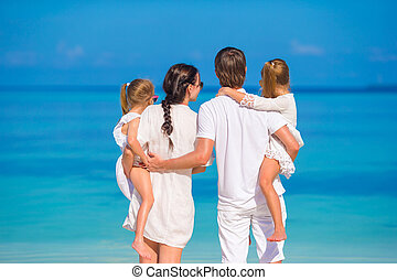 praia, tropicais, jovem, vista, família, costas, bonito, branca