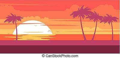 praia tropical, com, coqueiros, e, mar, -, verão, recurso, em, pôr do sol