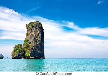 praia tropical, com, mar, e, pedra calcária, rocha