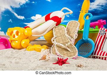 praia tropical, feriados, conceito