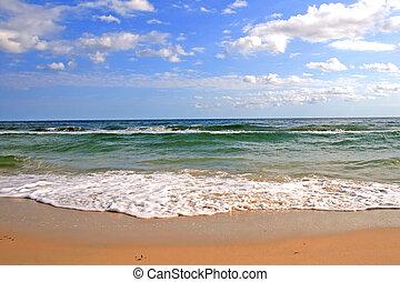 praia tropical, mar, ondas