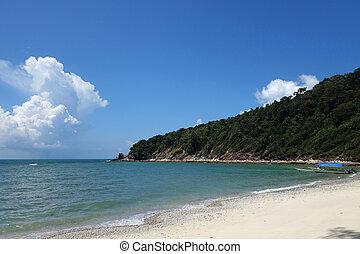 praia tropical, paisagem, vista