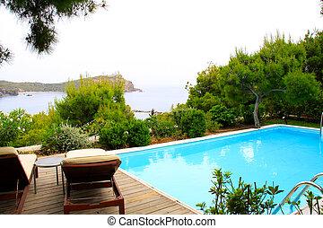 praia tropical, piscina, natação