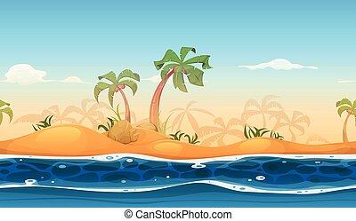 praia tropical, seamless, paisagem