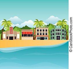 praia tropical, verão, cena