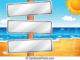 praia, vazio, signboards