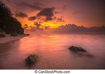 praia, verde, amanhecer, musgo, pedras