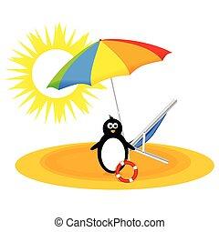 praia, vetorial, guarda-chuva, ilustração, pingüim