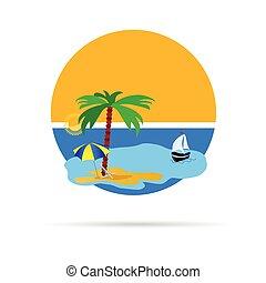 praia, vetorial, ilustração, com, árvore palma
