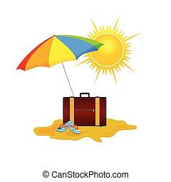 praia, vetorial, ilustração, ligado, um, cor