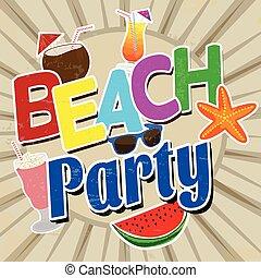 praia, vindima, partido, cartaz