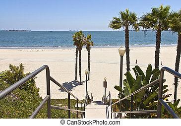 praia, vista., califórnia, longo, oceânicos