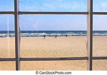 praia, vista, janela