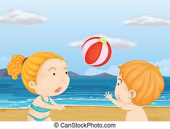 praia, voleibol jogo, crianças