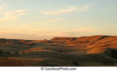 A praire landscape of saskatchean in some hills near sunset.